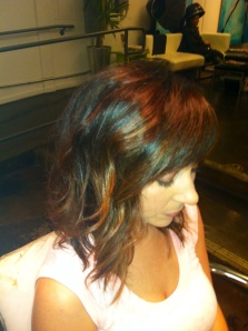 A-line textured bob with Balayage highlights