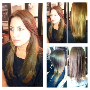 Before and After color correction and extensions