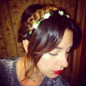 I created a festival style braid on myself for a fun work style hair do.