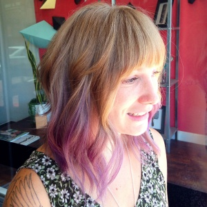 Lavender Ombre and a Long Bob